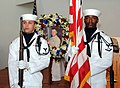 US Navy 090403-N-3666S-013 Sailors assigned to the color guard of Naval Facilities Engineering Command, Hawaii parade the colors during a remembrance ceremony for Lt. j.g. Francis Toner IV.jpg