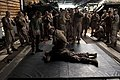 US Navy 110426-N-QP268-022 Marines assigned to the 22nd Marine Expeditionary Unit (22nd MEU) practice arm take down movements in the well deck of.jpg