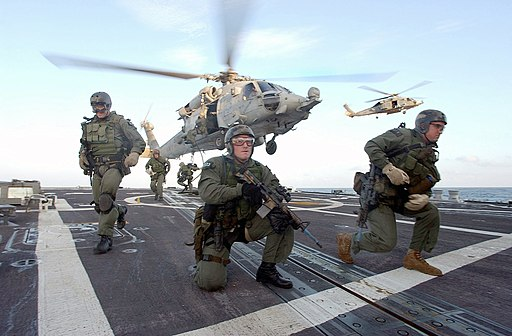 US Navy SEALS fast rope