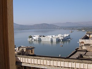 Udaipur City's Five lakes - The scene of the Pichola lake palace at Udaipur
