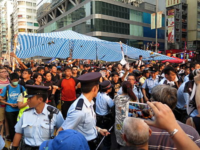 Umbrella Revolution Conflict in Mong Kok view 20141003.jpg