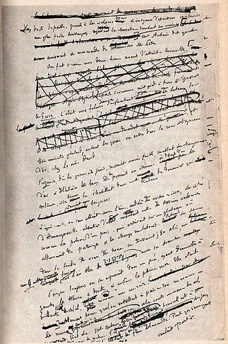 Writer - Flaubert's heavily edited page of his manuscript for Un Cœur simple