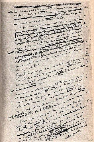 Writer - Flaubert's heavily edited page of his manuscript for Un Cœur simple