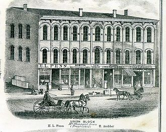 Union Block (Mount Pleasant, Iowa) - Union Block in 1870.