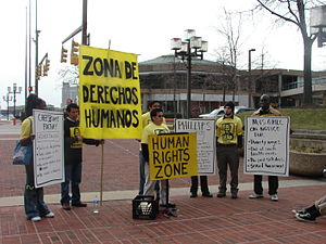 Human rights movement - United Workers demonstrating for human rights and fair development in Baltimore's Inner Harbor.