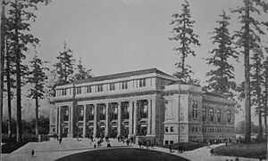 """Meany Hall for the Performing Arts - """"Old"""" Meany Hall depicted at the time of the Alaska-Yukon-Pacific Exposition. Probably an artist's representation before actual construction."""