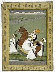 Raja on Horseback with Attendants