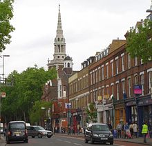 Upper street with the spire of st mary s church