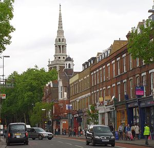 Upper Street - Upper Street, with the spire of St Mary's Church