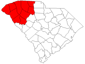 "Upstate South Carolina - Map of South Carolina highlighting ""The Upstate"" region."