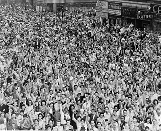 1940s - Crowds celebrating V-J Day in Times Square, New York City, August 1945