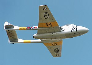 Twin-boom aircraft - A de Havilland Vampire T11 of the UK Vampire Preservation Group at the 2010 Cotswold Air Show.