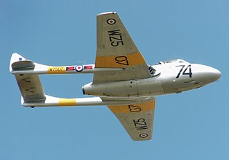 De Havilland Vampire - Vampire T.11 of the UK Vampire Preservation Group displays at the Cotswold Air Show