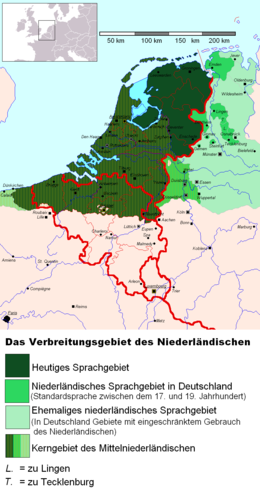 The historic range of the Dutch language in the Netherlands, Belgium, France and Germany