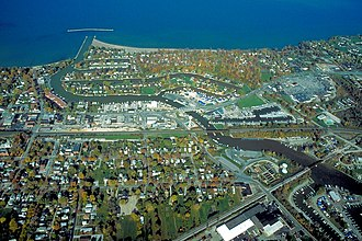 Vermilion, Ohio - Aerial view of Vermilion, Ohio. View is to the north over Lake Erie.