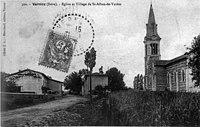 Vernioz, église et village à Saint-Alban-de-Varèze, 1907, p267 de L'Isère les 533 communes - cliché C D, Blanchard, éditeur Vienne.jpg