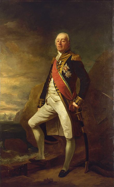 Vice-Admiral James Saumarez was the commander of the Royal Navy in the Baltic campaign of 1808-1814 that secured British trade to the region Vice-Admiral James Saumarez.jpg