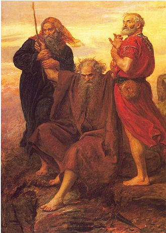 Moses - Moses holding up his arms during the battle against Amalek, assisted by Aaron and Hur; 19th-century painting by John Everett Millais