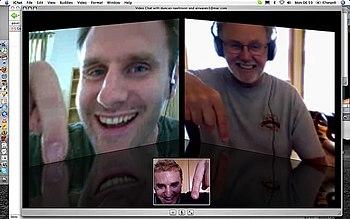 English: Three way video chat