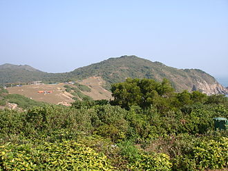 Grass Island, Hong Kong - View from a Grass Island hilltop, a campsite can be seen atop the distant hill