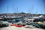 View of the Quai Rive Neuve and the Basilique Notre Dame de la Garde, Old Port of Marseille, Provence-Alpes-Côte d'Azur, Southeastern France , Western Europe