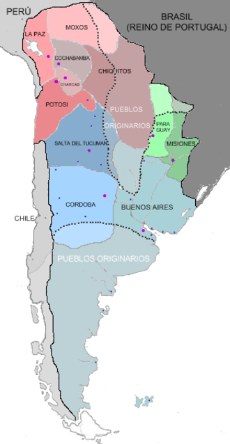 Real Audiencia of Buenos Aires - Internal divisions of the Viceroyalty of the Río de la Plata in 1783.