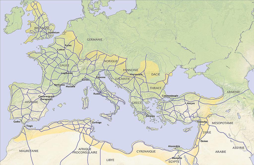 Venir à Rome : Voies romaines dans l'Empire romain vers 117 ap.J.-C.