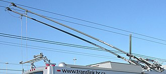 Trolley pole - Modern trolley poles as installed on Vancouver's low-floor trolley buses