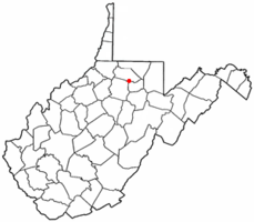 Location of Whitehall, West Virginia