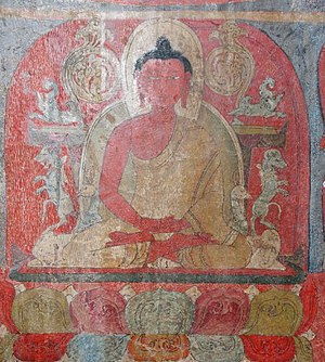 Tibetan Buddhist wall paintings - Detail of a wall painting in a Buddhist temple in Ladakh/India