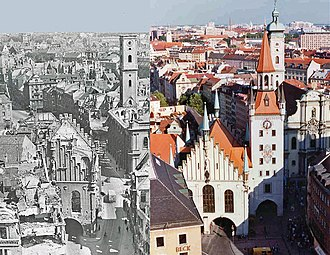 Bombing damage to the Altstadt. Note the roofless and pockmarked Altes Rathaus looking up the Tal. The roofless Heilig-Geist-Kirche is on the right of the photo. Its spire, without the copper top, is behind the church. The Talbruck gate tower is missing completely. Wardamage2.jpg