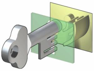 Warded lock - The key enters the lock through a keyhole (green).