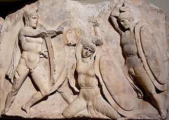 Nereid Monument - A young warrior dies. Block from the greater podium frieze