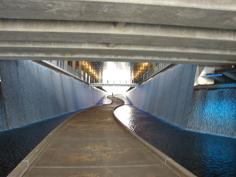 File:Water falls below David L. Lawrence Convention Center.JPG