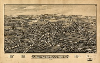 Waterville, New York - Perspective map of Waterville from 1885 with list of landmarks by L.R. Burleigh