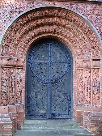 Mary Fraser Tytler - Image: Watts mortuary chapel door 1