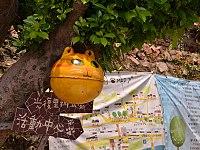 猫村「ホウトン」の入口にある看板と猫出現ポイントMap