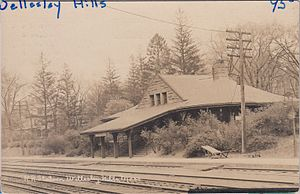 Wellesley Hills (MBTA station) - Wellesley Hills station on an early postcard