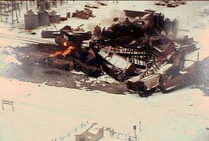 Overhead view of the derailment site taken March 5, 1996.