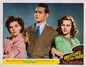 "Red Skelton - Skelton with Ann Rutherford and Virginia Grey as radio detective ""The Fox"" in Whistling in the Dark (1941)"