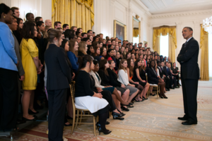 White House Internship Program - President Barack Obama talking with White House interns in spring 2012