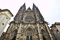 Wide view of the top of the west facade of St. Vitus Cathedral, 2014-03-06.jpg