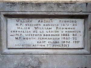 Willie Redmond - Redmond plaque on the Redmond  monument, Redmond Square, Wexford