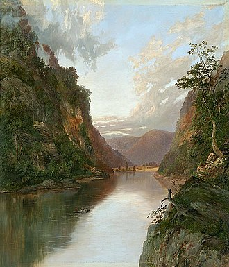 William Piguenit - Hawkesbury River with Figures in Boat : On the Nepean (1881)