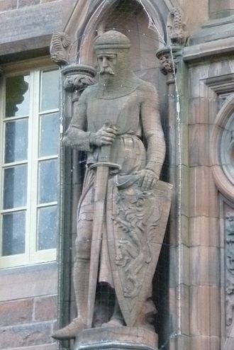First War of Scottish Independence - Wallace statue by D. W. Stevenson on the Scottish National Portrait Gallery, Edinburgh