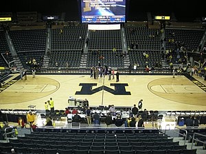 Michigan Wolverines women's basketball - The Crisler Center interior as it appeared during the 2012–13 women's basketball season.