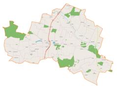 """Mapa konturowa gminy Wodzisław, w centrum znajduje się punkt z opisem """"Wodzisław"""""""