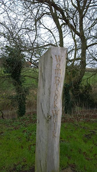 Wombourne - Signpost for the Wom brook Walk at Wombourne, Staffordshire