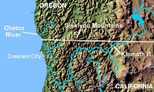 Chetco people - Map of southwest Oregon and northern California, showing the traditional homeland of the Chetco