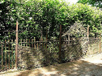 English: Wrought iron and wickerwork fence Sur...